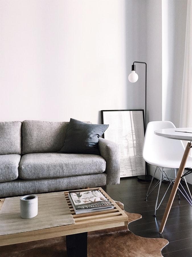 Salon moderne décoré avec une touche d'objets vintage