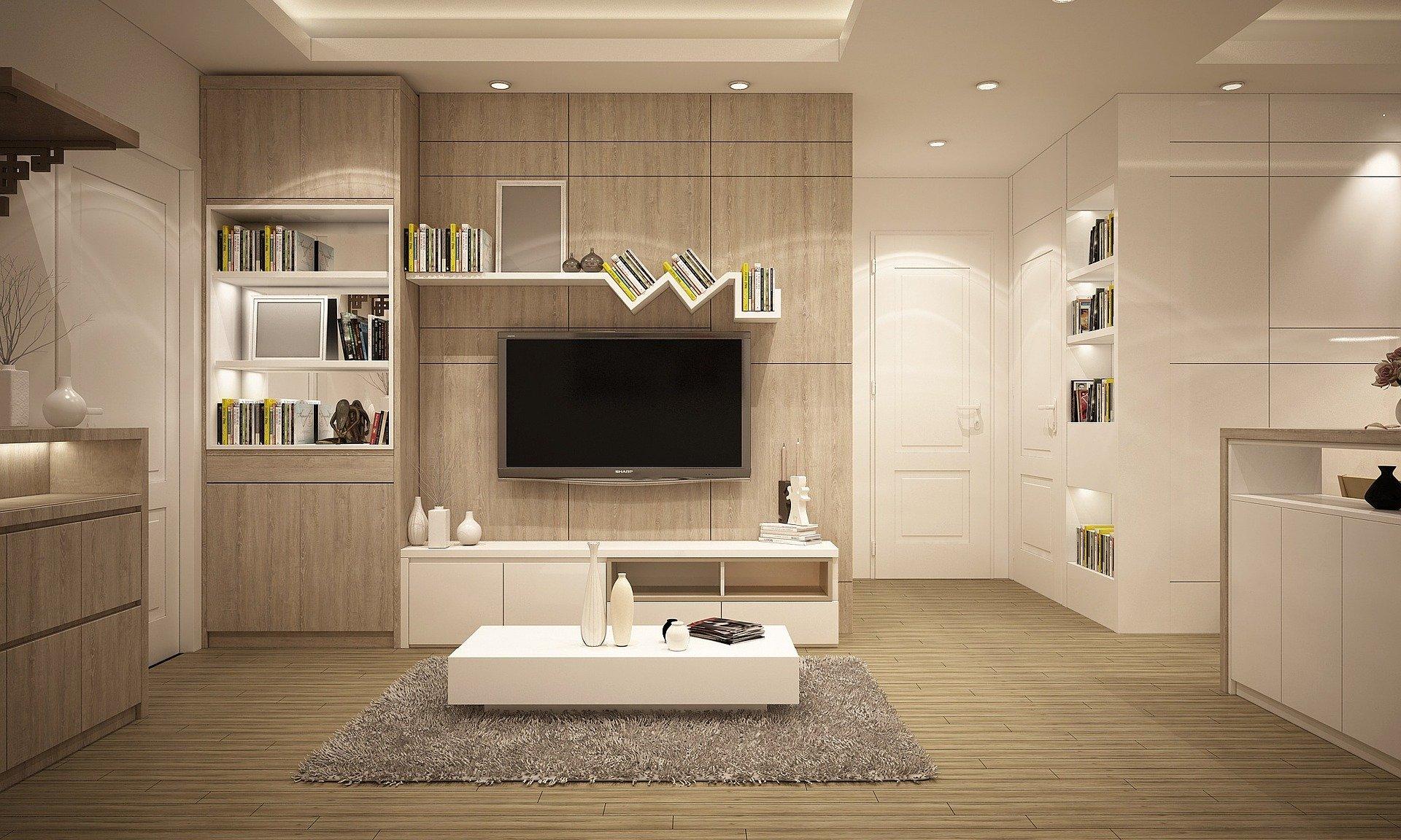 Salon à la décoration design avec des couleurs claires